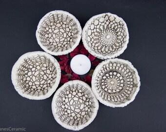 SET OF 5 tiny bowls, Small ceramic bowls; White dish table decor; Handmade decorative pottery; White bowl; Housewarming, return gift ideas