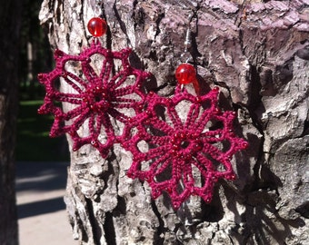 "Сrocheted earrings ""Gossamer"""