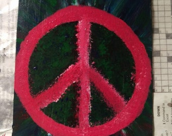 Hand painted resin peace sign