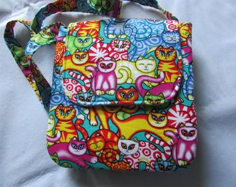Colourful cat handbag