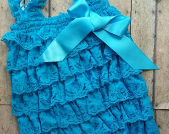 Petti lace romper dark turquoise set with headband