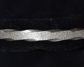 Sterling Silver Twisted Leather texture Cuff Bracelet