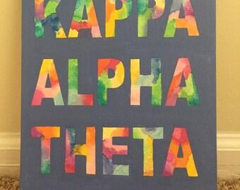 Tie-Dye Kappa Alpha Theta Canvas
