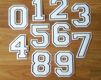 White Arabic Numerals Patches Iron On Patch Sew On Patches