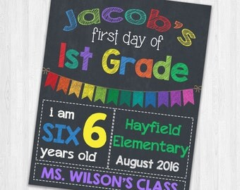 Back to School Signs | Printable First Day Of School Signs | Chalkboard Signs | First Day of First Grade Photo Prop Signs