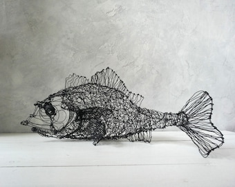 Fish decor, Fish art, Fish sculpture, Home Decor, Wire Decor, Wire fish, Wire Art, Wire Sculpture, Patio Decor, Cottage Chic Décor, unique
