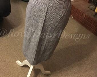 Custom Black and White Plaid Pencil Skirt