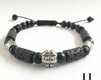 Stainless Steel Beaded Bracelet with Volcano cilinders and Faceted Beads