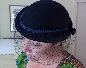 Vintage Navy Blue Hat with Hat Box
