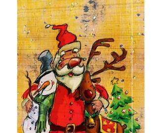 Santa, Snowman and Reindeer Buddies Canvas