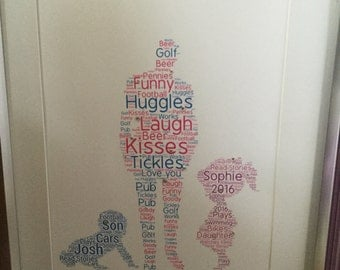 Father, son and daughter word art