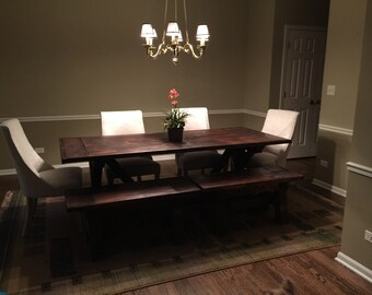 6 Ft. Custom Surfaced Farmhouse Table and Bench Set
