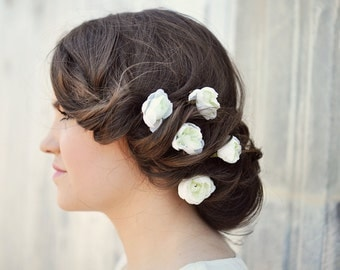 rikki | ivory set of 5 floral hair bobby pins