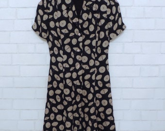Vintage Button-Down Umbrella Patterned Sun Dress