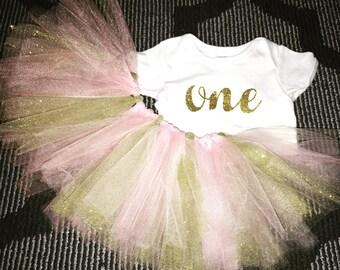 "Baby 1st Birthday Sparkle ""ONE"" Onsie & Glitter Tutu"