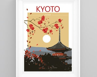 Vintage Travel Poster Kyoto, Japan Temple. Handmade, A4 or A3 size, CUSTOMISABLE