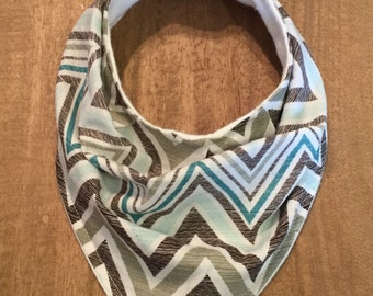 Brown/Teal Chevron Slouchy Bandana Bib