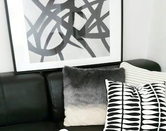 Original Art Print Unframed - Black & Beige Neutral Abstract Acrylic Minimalist Contemporary Artwork Painting Interior Styling