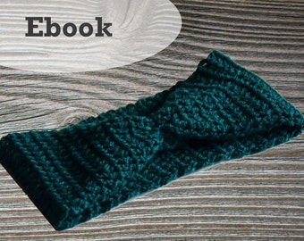 Crochet turban headband headband, crochet pattern, crochet headband, crochet PDF, PDF crochet pattern