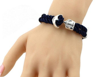 Navy blue rope with silver anchor