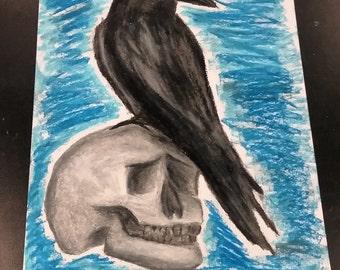 Oil Pastel Raven With Skull