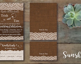 Burlap Rustic Wedding Invitation Invite RSVP with Lace Texture Custom Customizable Digital Design