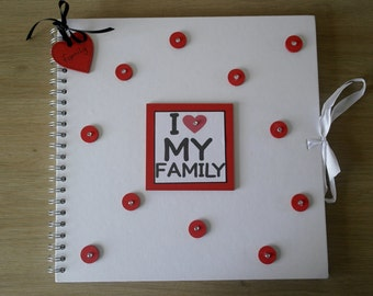 Handmade Personalised 'I love my Family' Scrapbook / Photo Album / Gift. Size Large 12 x 12""