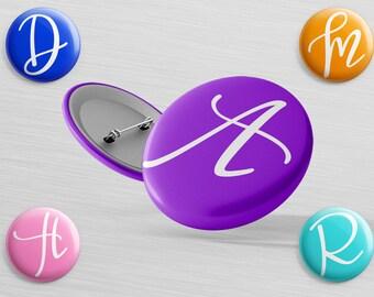 "Custom Initial Magnet - 1.25"" Personalized MAGNET - Initial Pinback Button - Monogram Badge - Backpack Pin - Locker Decor Button - Desk"