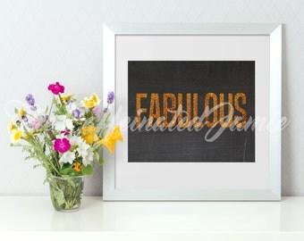 FABULOUS GOLD Glitter Print