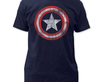 Captain America Distressed Shield Soft Fitted 30/1 Cotton Tee - CAPT03(Navy)