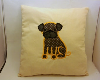 Handmade Machine Embroidered Pug Dog Accent Pillow