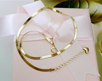 14K Gold Snake chain fine necklace 16.5''