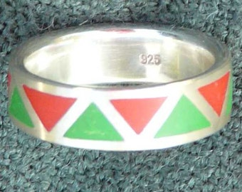 Polymer clay ring zig zag (red, green)