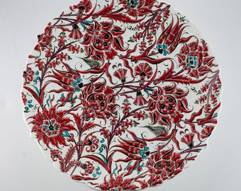 Ceramic Plate (43cm).with turkish flowers; Tulips and roses..done by special RED COLOUR.