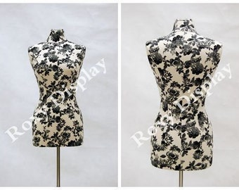 Female Size 6/8 Black and white flower texture cover Body Form Mannequin