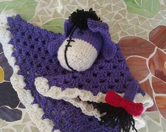Eeyore themed toy lovey crochet blanket