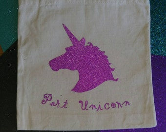 Part Unicorn Part Mermaid Tote Bag (handmade,custom made,glitter vinyl)