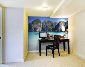 Photo Wallpaper Wall Mural for Dining Room, Living Room Decor, Bedroom Decor, Office - Long Tail Boat In Clear Waters Of Maya Bay Thailand