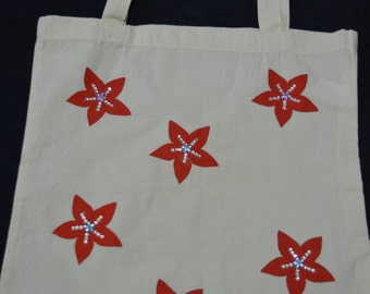 Hand painted cotton tote bag flower design with crystal emballishments