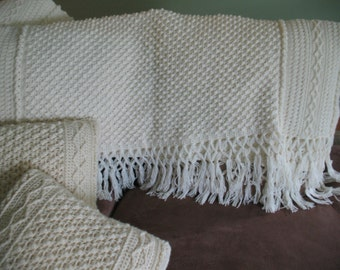 Crochet Blanket/Afghan with matching Pillows