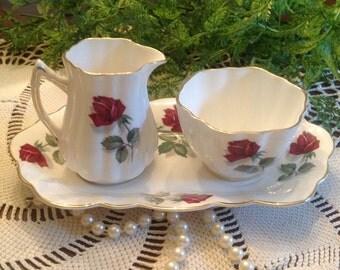 Old Royal bone china cream and sugar on matching tray
