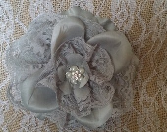 Grey Flower Fascinator with Lace