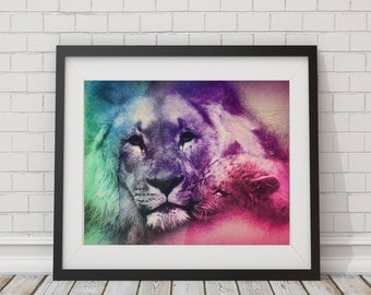 Lion Watercolor Print - Lion Art Lion Painting Lion Watercolor Painting Watercolor Art Print Colorful Art Illustration Poster Gifts for Her