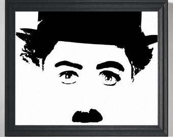 Charlie Chaplin Print, Charlie Chaplin Poster, Media Room Decor, Home Theater Decor, Movie Poster, Movie Art, Theater Gifts, Wall Art