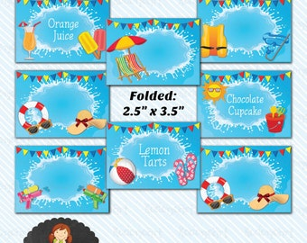 Digital Printabe Pool Party Food Label/ Table Tent - Instant Download