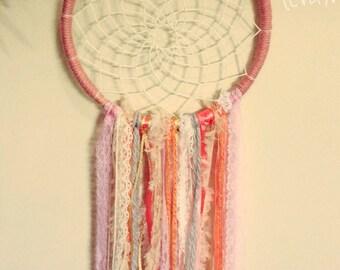 Sweet pink dream catcher, wall hanging, wall art, handmade, bedroom decor, dreamcatcher, wedding
