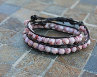 Pink Gemstone double wrap bracelet
