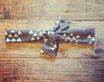 Triangle Knot | Tiffany Blue & Charcoal Grey | Knotted Headband