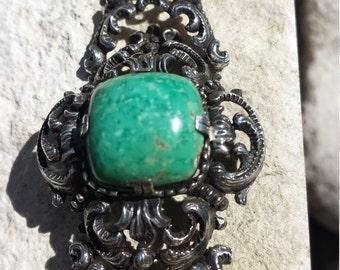 "Turquoise link antique sterling silver scroll  bracelet 7 1/2 "" long"