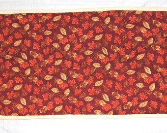 "Fall/Autumn Simple/Reversible Table Runner Brown/Orange/Gold Leaves on Maroon  14"" x 35"" (free hand quilted leaves, fluffy batting)"